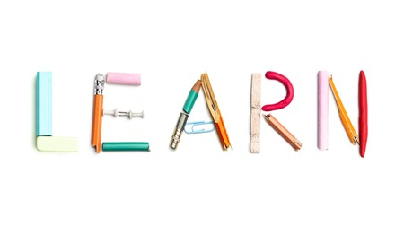 The Word Learn Created From Office Stationery Stock Photo Picture