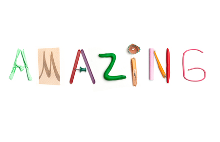 The word amazing created from office stationery. Stock fotó