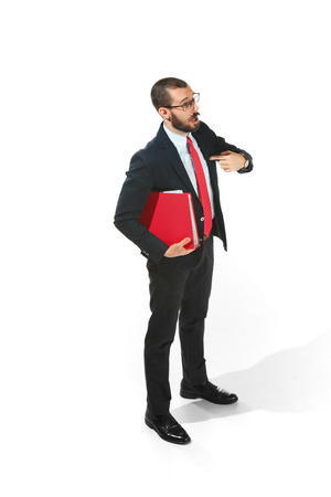 Portrait of businessman pointing at himself isolated on white background studio with copy space Banque d'images - 96692572