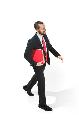 Full body portrait of businessman with folder on white Stock Photo