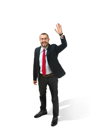 Choose me. Full body view of businessman on white studio background