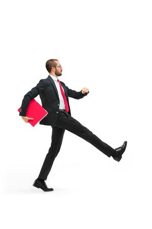 Full body portrait of businessman with folder on white Reklamní fotografie