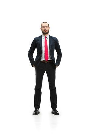 Full body portrait of businessman on white studio background 免版税图像