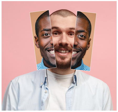 Collage from two images of smiling african and caucasian men 写真素材