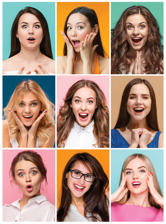collage of photos of attractive smiling happy women Imagens