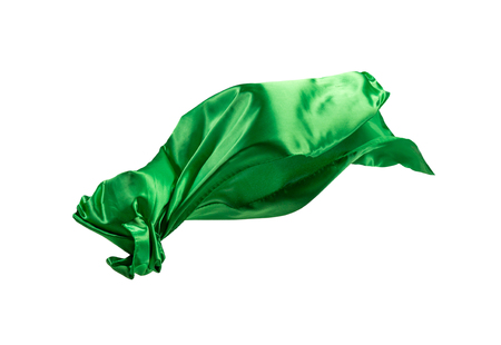 Smooth elegant transparent green cloth separated on white background.