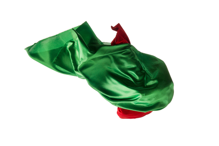 Smooth elegant transparent red, green cloth separated on white background. Stock Photo