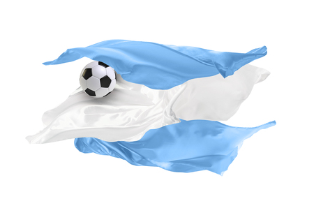 The national flag of Argentina.