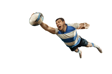 The silhouette of one caucasian rugby man player isolated on white background Banque d'images