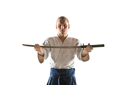 The young man are training Aikido at studio Stock Photo - 98168976