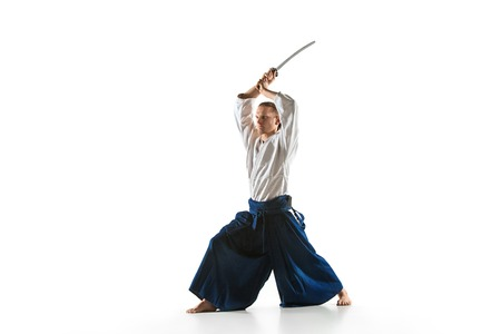 The young man are training Aikido at studio Stock Photo - 98168982