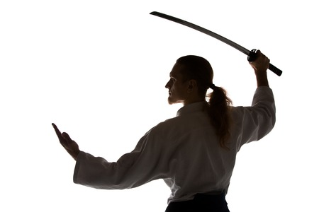The young man are training Aikido at studio Stock Photo - 98169568