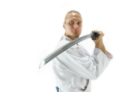 The young man are training Aikido at studio Stock Photo - 98348748