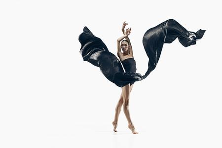 Aerobics fitness vrouw oefenen geïsoleerd in het hele lichaam. Stockfoto