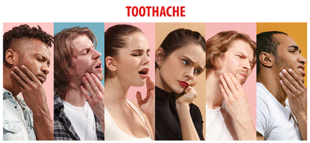 Collage about group of people with toothache. Men, women with tooth pain illness