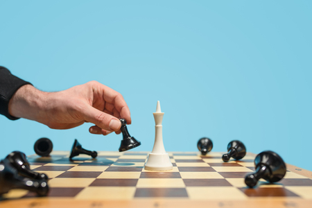 The chess board and game concept of business ideas and competition. 스톡 콘텐츠