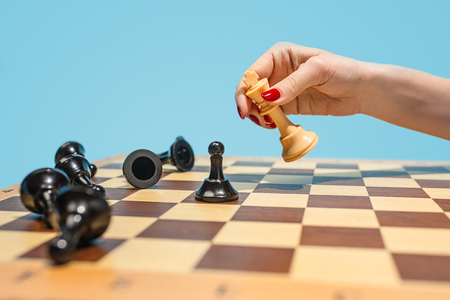 The chess board and game concept of business ideas and competition. Banco de Imagens