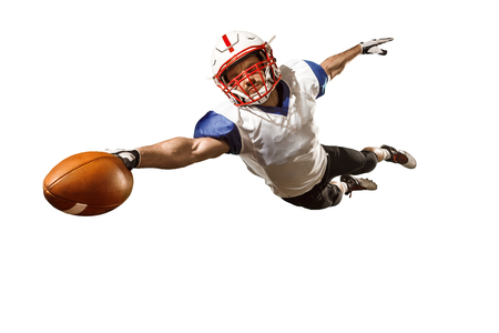 one american football player man studio isolated on white background Stock Photo