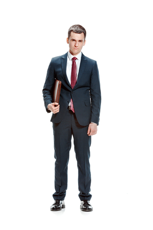 Full body portrait of businessman with folder on white 스톡 콘텐츠