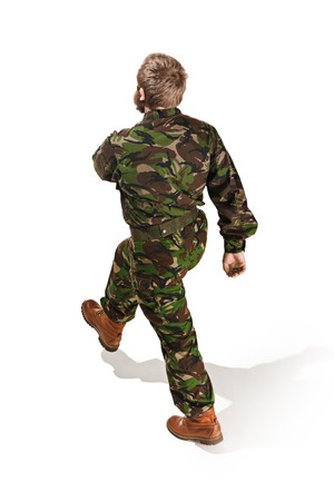 Young army soldier wearing camouflage uniform isolated on white Stock Photo