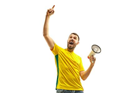Brazilian fan celebrating on white background