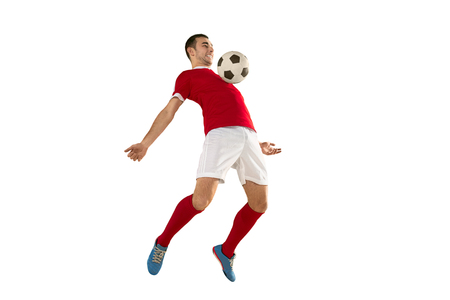 Professional football soccer player isolated white background Stock Photo