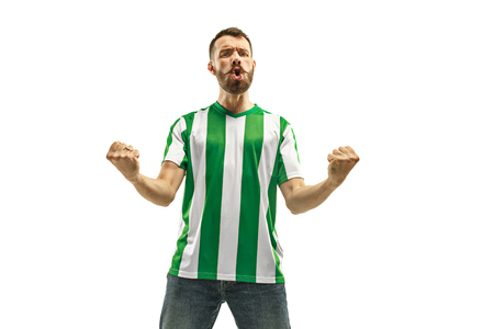 Irish fan celebrating on white background