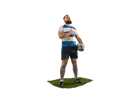 The silhouette of one caucasian rugby man player isolated on white background Stok Fotoğraf