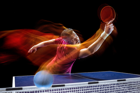 The table tennis player serving Stock Photo - 101481900