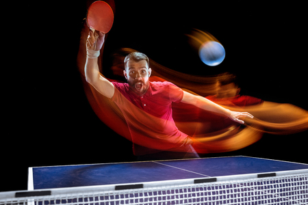 The table tennis player serving Stockfoto