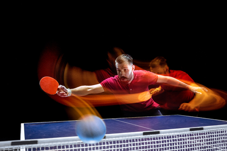 The table tennis player serving Stock Photo - 101481908