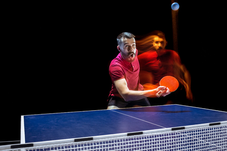 The table tennis player serving Stock Photo - 101481974