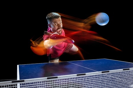 The table tennis player serving Archivio Fotografico - 101482015