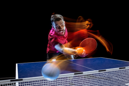 The table tennis player serving Stock Photo