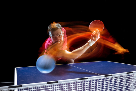 The table tennis player serving Stock Photo - 101482116