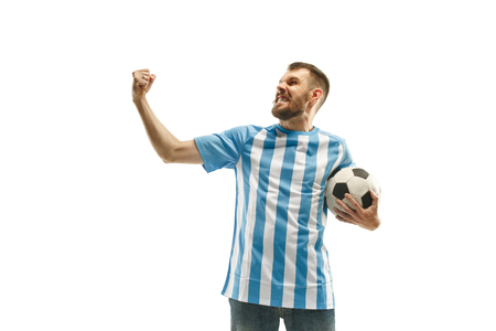 The Argentinean soccer fan celebrating on white background