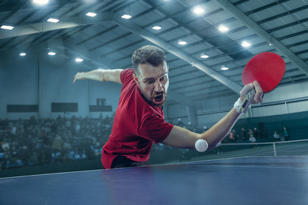 The table tennis player serving Imagens