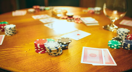 Chips for gamblings, drink and playing cards Stock Photo