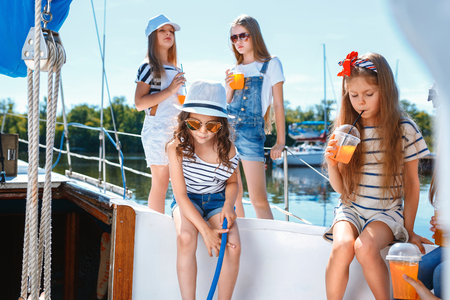 The children on board of sea yacht Reklamní fotografie