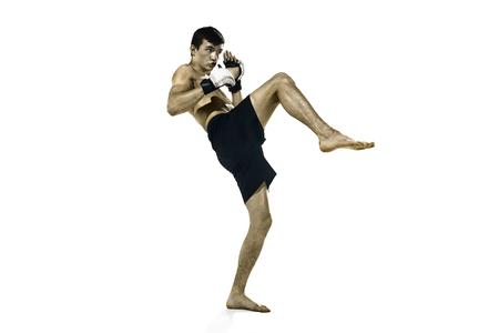 professional boxer boxing isolated on white studio background Stok Fotoğraf