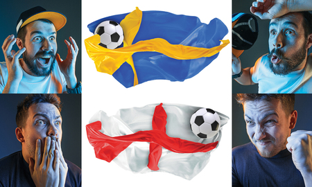 The collage about emotions of football fans of England and Sweden teems and flags isolated on white background Stock Photo