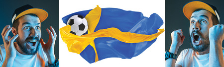 The collage about emotions of football fans of Sweden teem and flag isolated on white background