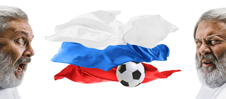The collage about emotions of football fans of Russia teem and flag isolated on white background