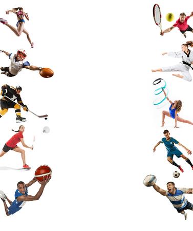 Sport collage about kickboxing, soccer, american football, basketball, ice hockey, badminton, taekwondo, tennis, rugby Stockfoto