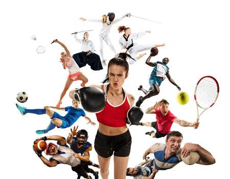 Collage di sport su kickboxing, calcio, football americano, basket, badminton, taekwondo, tennis, rugby