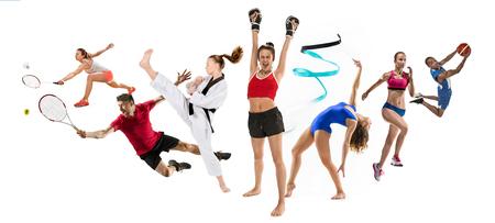 Sport collage about kickboxing, basketball, badminton, taekwondo, tennis, athletics, rhythmic gymnastics, running and jumping in height Stockfoto