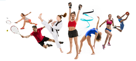 Sport collage about kickboxing, basketball, badminton, taekwondo, tennis, athletics, rhythmic gymnastics, running and jumping in height Archivio Fotografico