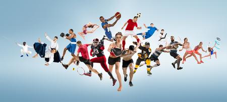 Collage de sport sur le kickboxing, le football, le football américain, le basket-ball, le hockey sur glace, le badminton, le taekwondo, le tennis, le rugby
