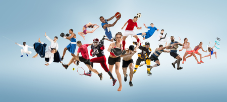 Sport collage about kickboxing, soccer, american football, basketball, ice hockey, badminton, taekwondo, tennis, rugby 版權商用圖片