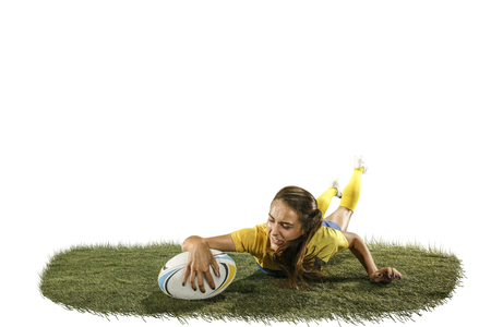 The young female rugby player isolated on white backround